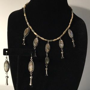 Jewelry - Signed Sterling & Shell Squash Blossom Set